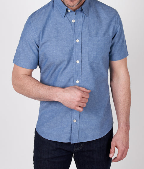 Lagoon Blue Linen Short Sleeve Shirt