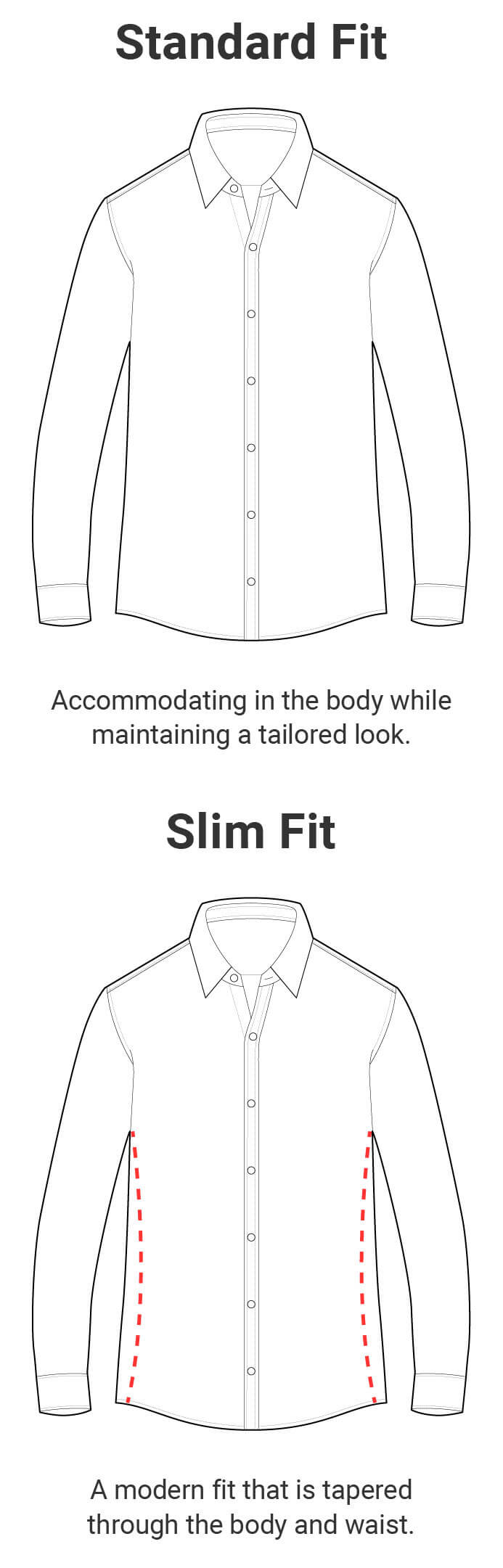 Slim Fit - A modern fit that is tapered through the body and waist. Standard Fit - Accommodating in the body while maintaining a tailored look.