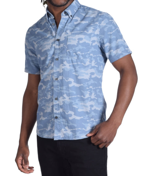 Blue Camo Short Sleeve Shirt