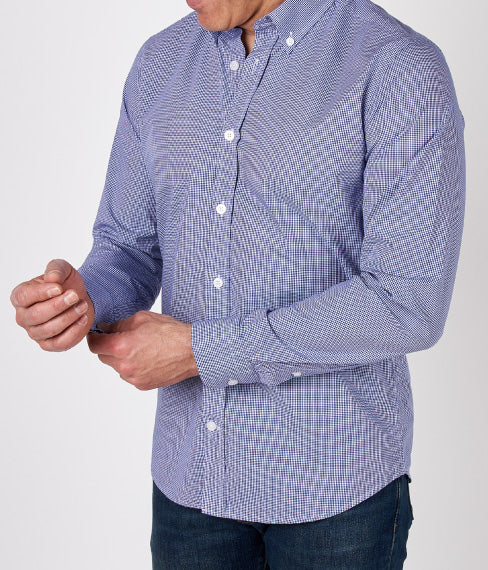 Blue Microcheck Spring Shirt