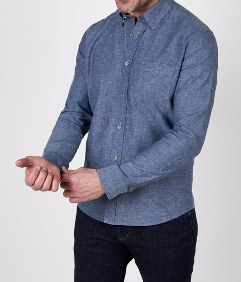 Denim Blue Linen Spring Shirt