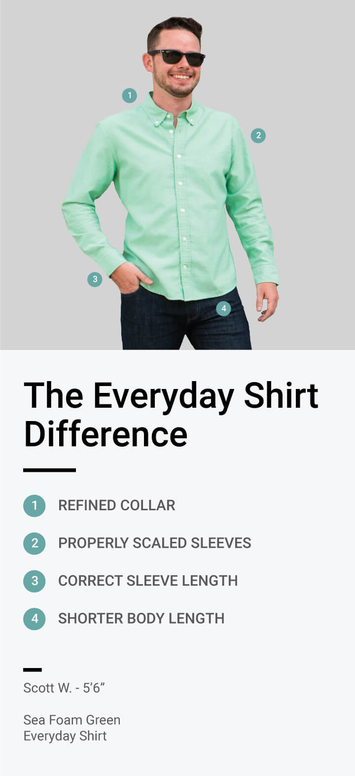 The Ash & Erie Difference - We looked at hundreds of details including collar size, armhole, cuff width, trail drop, inseam, rise, and much more when designing the perfect fit for our clothes