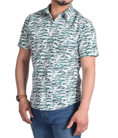 Green Retro Camo Short Sleeve Shirt