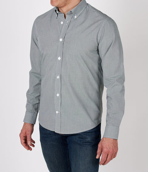 Green Microcheck Spring Shirt