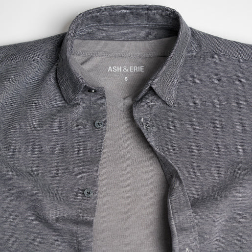 True Navy Hybrid Knit Button Down paired with V-Neck Tee.
