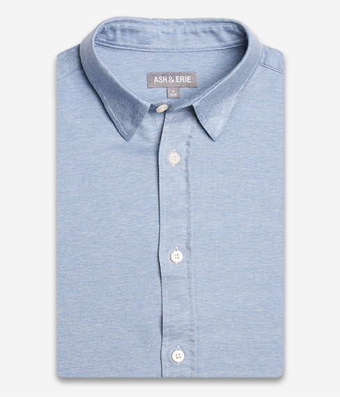 Harbor Blue Hybrid Knit Button Down