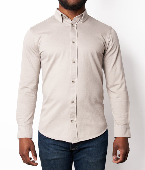 Weathered Grey Hybrid Knit Button Down