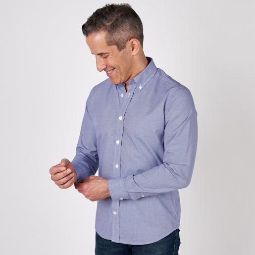 Michael wearing the Blue Microcheck Everyday Shirt.