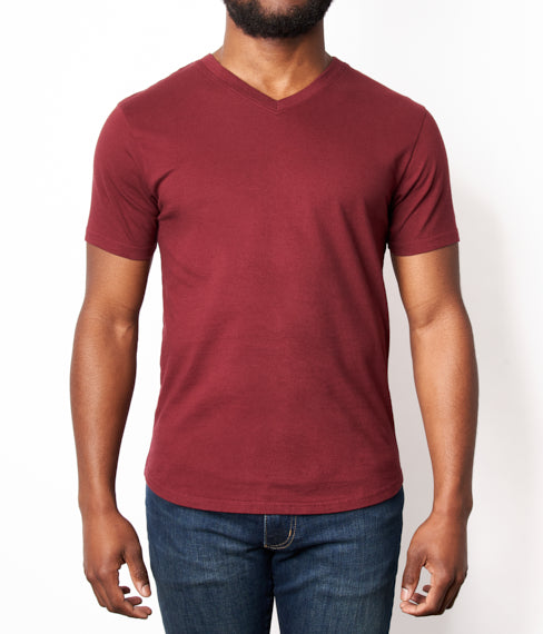Burgundy Port Neck Tee