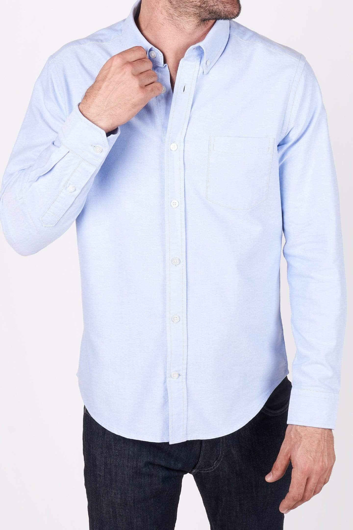 Buy Blue Oxford Button-Down Shirt for Short Men | Ash & Erie   Everyday Shirts