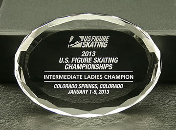 US Figure Skating - Oval Paperweight - Glassical Designs