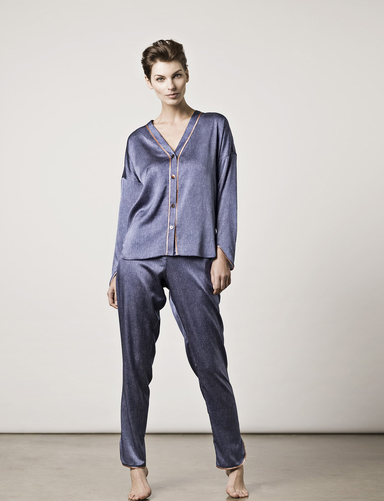 LA Denim Silk Pyjamas Model