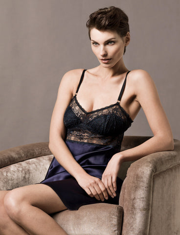 New York Indigo Silk Chemise Model