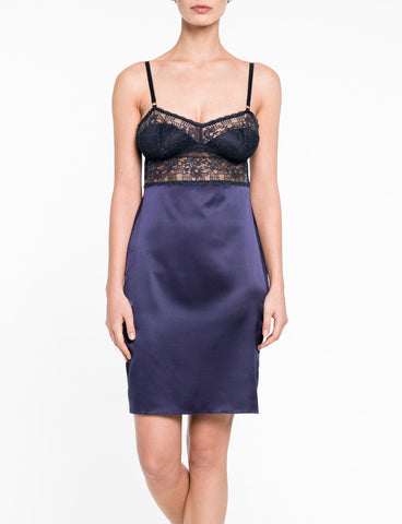 New York Indigo Silk Chemise Product