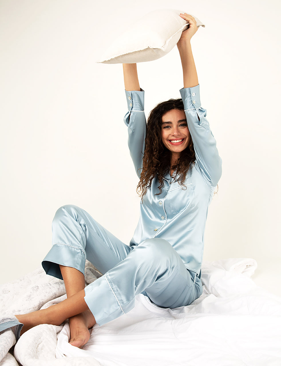 Paris Blue Mist Silk Pyjama