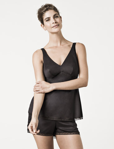 London Black Camisole Model