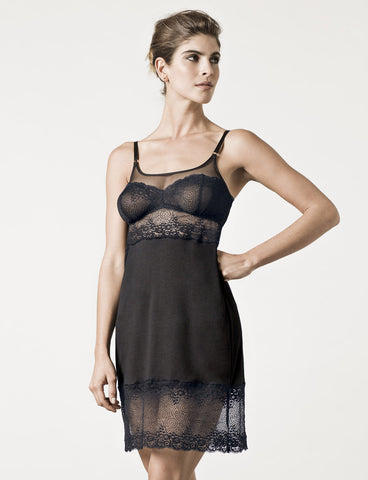 London Black Lace Slip Model