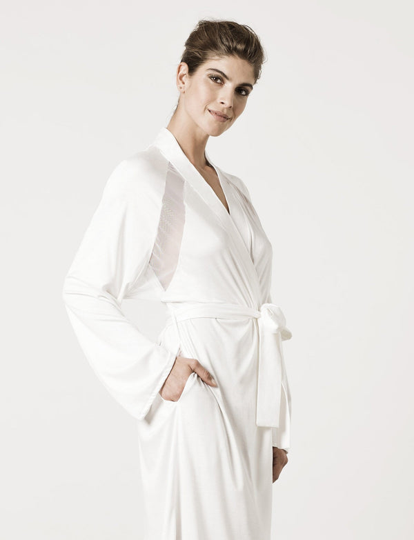 model wearing London Robe Moon White
