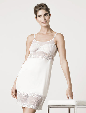 model wearing London Lace Chemise Moon White