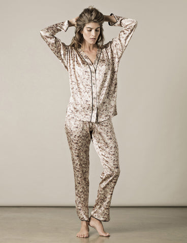 model wearing Paris Print Pyjamas