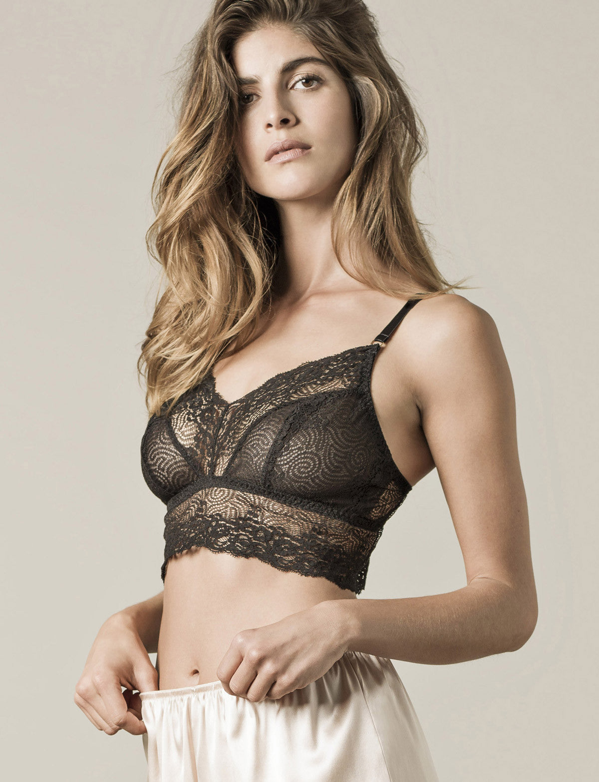model wearing Nui Ami Sleep Bralette