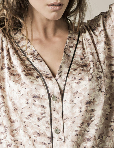 Nui Ami | Paris Print Silk Pyjama Shirt | Loungewear Responsibly Made in the UK
