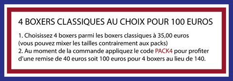 4 boxers made in France pour 100 euros avec le code PACK4