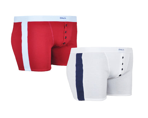Duo de boxers Made in France rouge et blanc Cassius et Floyd