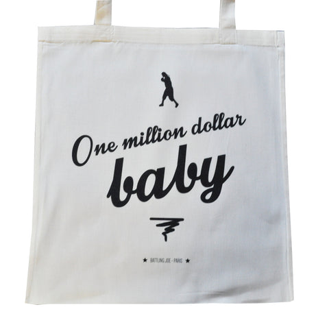 "Tote Bag 100% coton bio ""One Million Dollar Baby"" par Battling Joe"