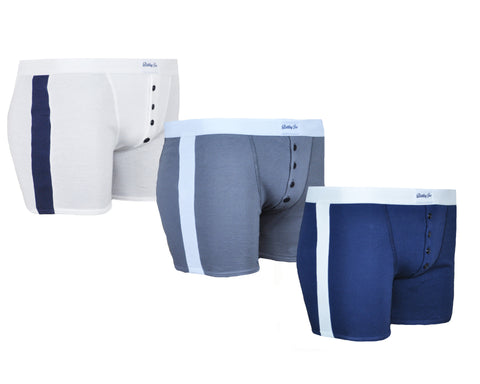 Trio de boxers Made in France blanc bleu gris 100% coton