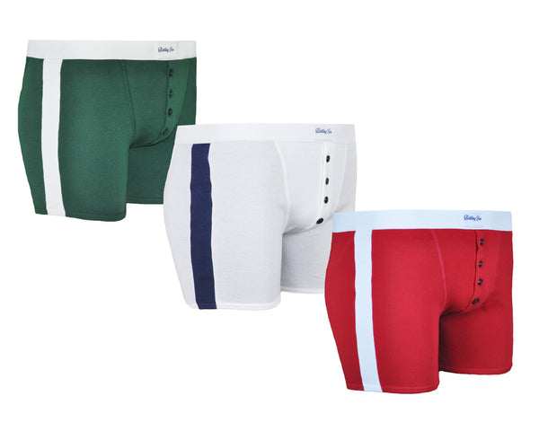 Trio de boxers Made in France vert blanc rouge 100% coton