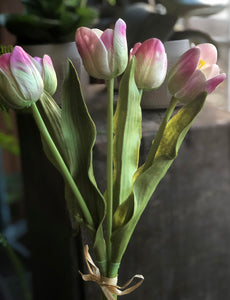 Real Touch Cream/Lavender Tulip(Cluster of 5)