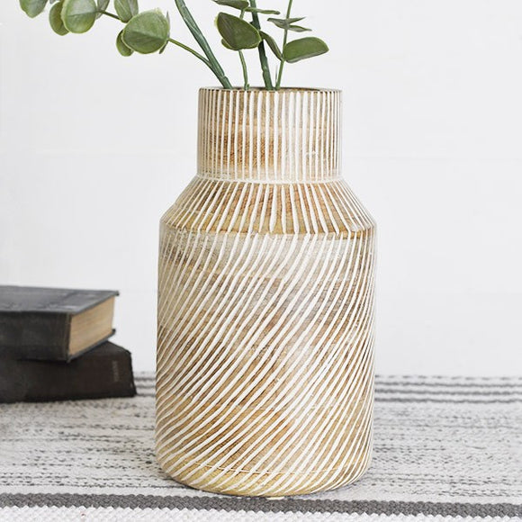 "10"" Striped Wood Vase"