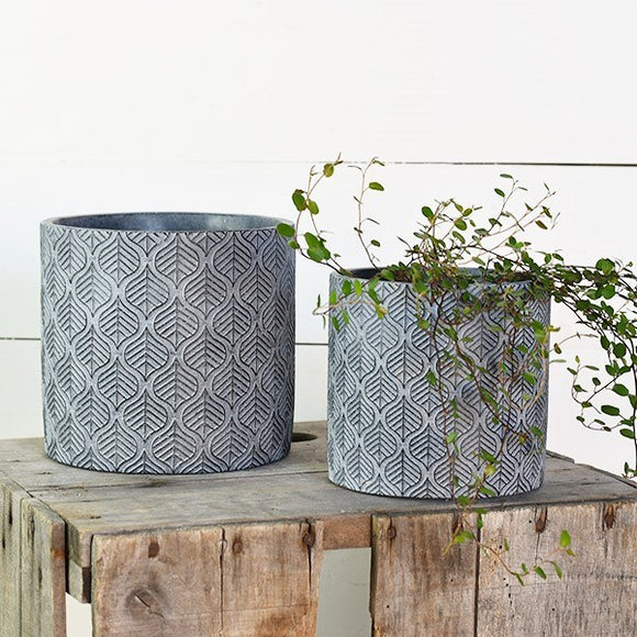 Cast Blue Leaf Planter