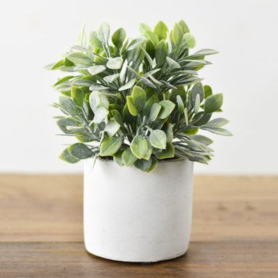 Faux Green Bush in Pot
