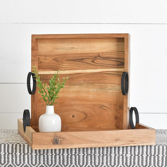 Square Wood Tray with Metal handles