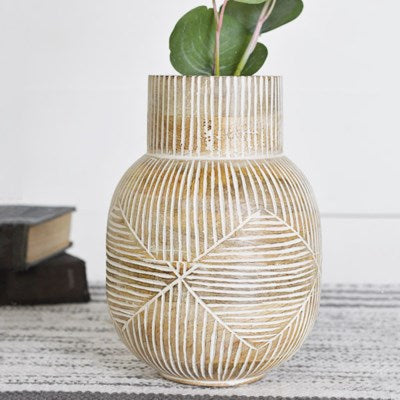 "8"" Striped Carved Wood Vase"