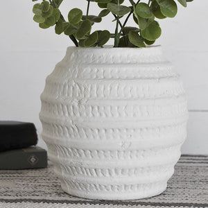 "8"" White Washed Vase"