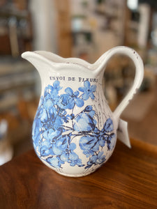 "9"" Blue Floral Stenciled Pitcher(LG)"