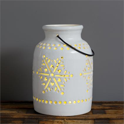 White Ceramic Snowflake Luminary - Urbanlux