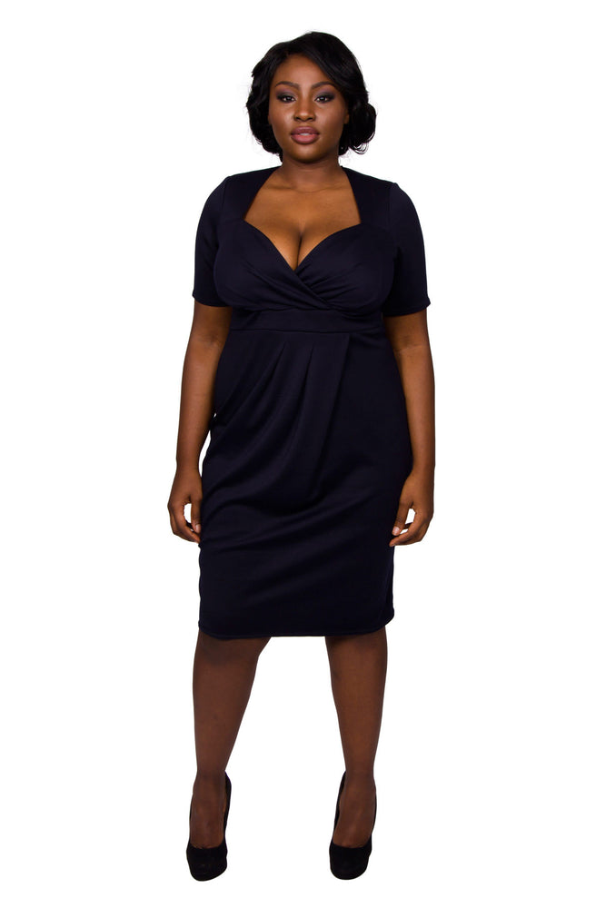Twist Skirt Bodycon Dress (Navy)
