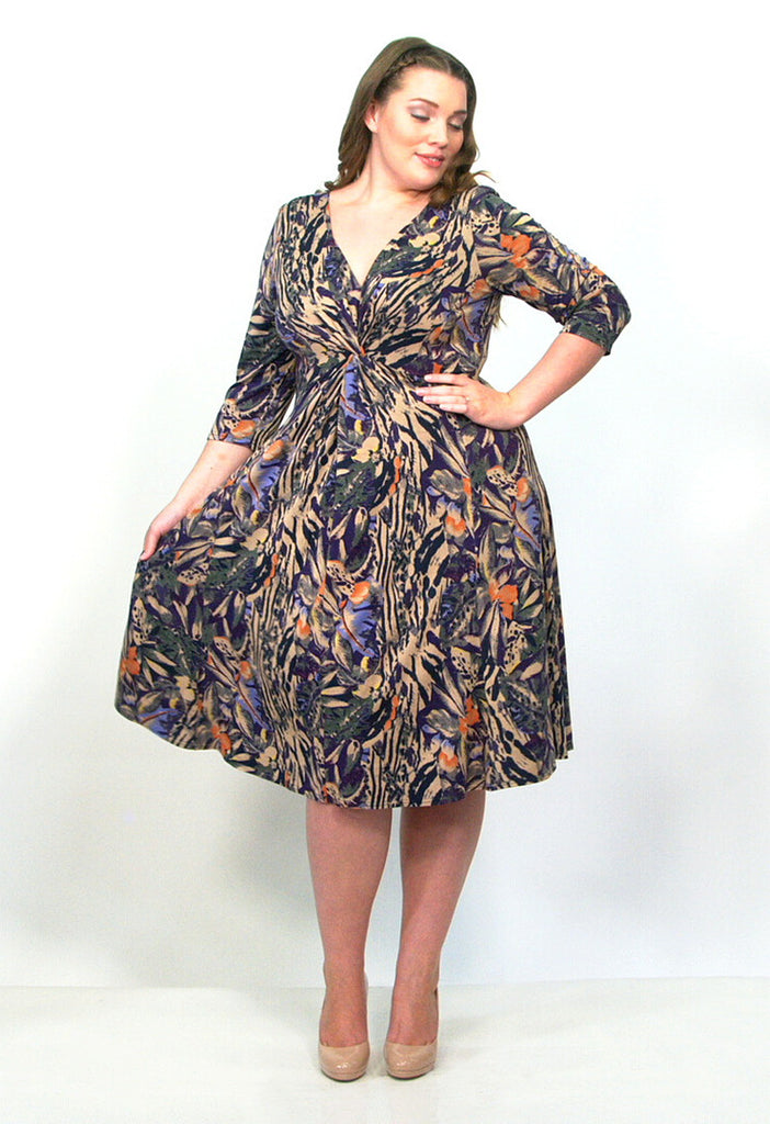 Multi-Coloured Jersey Knot Front Dress - scarlettandjo  - 1