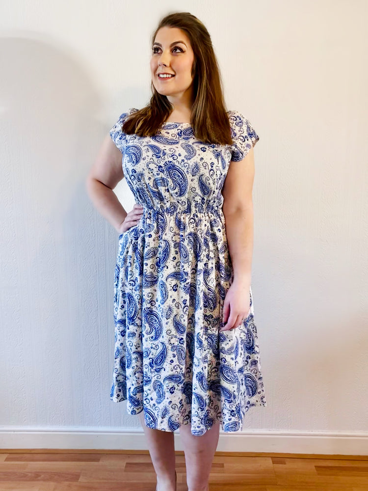 Caroline Blue Paisley Pocket Dress