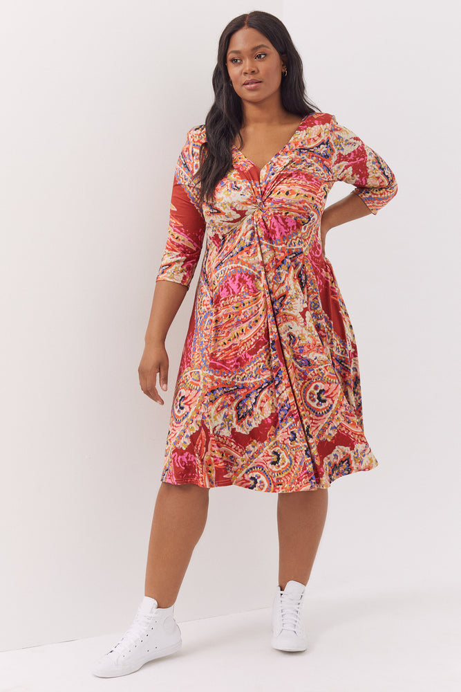 Claudia Paisley Peach Touch Jersey Knot Front Dress