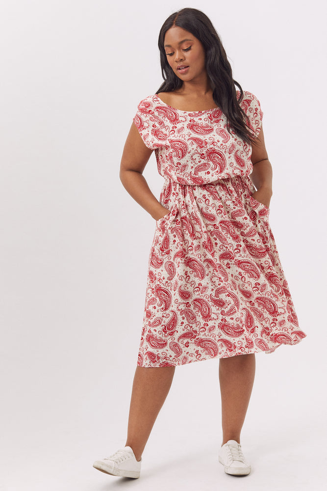 Caroline Red Paisley Pocket Dress