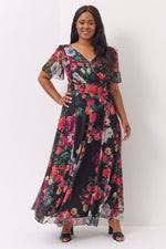 Isabelle Black Multi Float Sleeve Maxi Dress