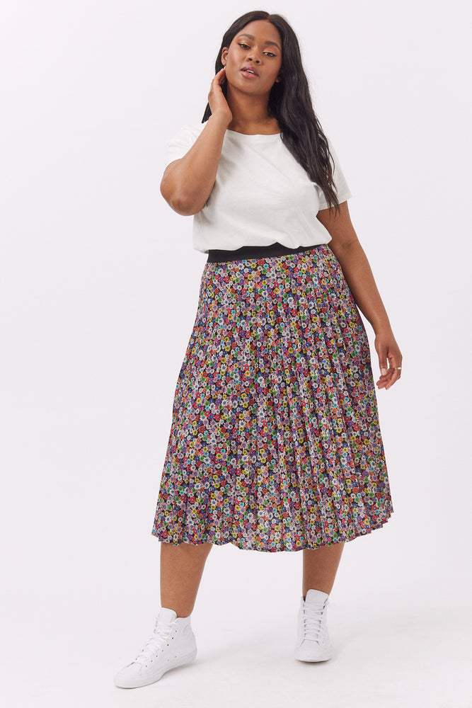 Daisy Vintage Multi Coloured Pleated Skirt