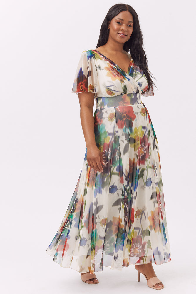 Isabelle Cream Multi Float Sleeve Maxi Dress