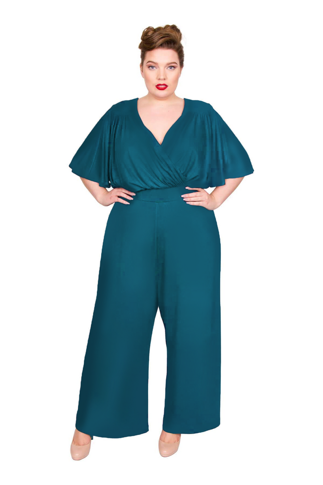 Dark Green Wrap Lounge Jumpsuit