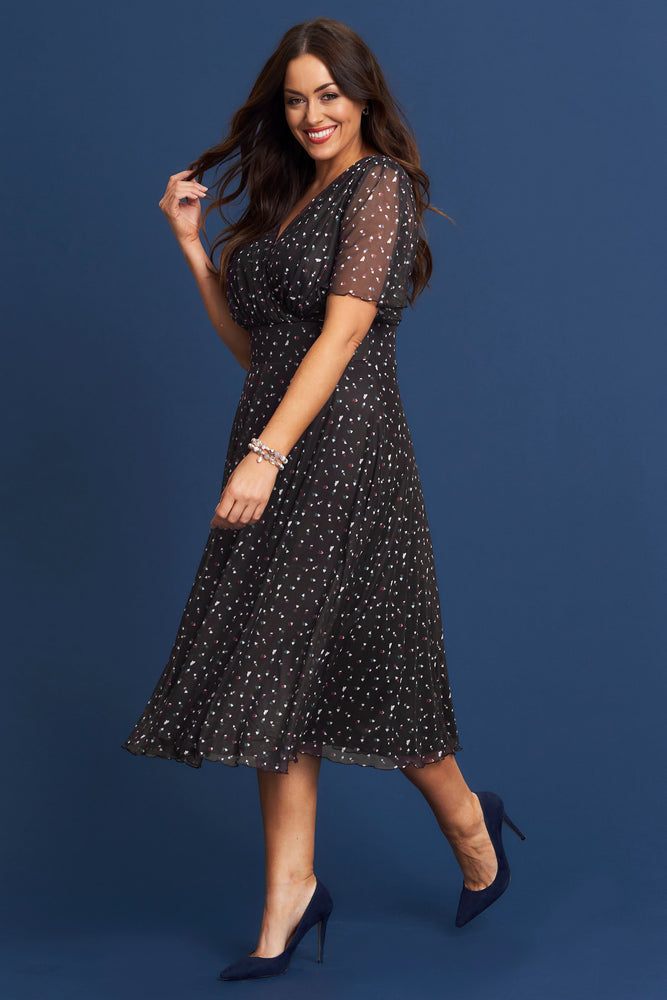 Lottie Heart Angel Sleeve Midi Dress